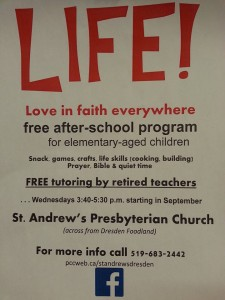 L.I.F.E. After School Program @ St Andrews Presbyterian Church | Dresden | Ontario | Canada