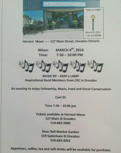 Keep a Lamp - Fellowship, Music & Food @ Harvest Moon   Dresden   Ontario   Canada
