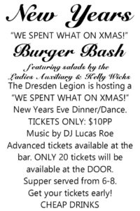 Legion New Years - Burger Bash @ Dresden Legion | Dresden | Ontario | Canada