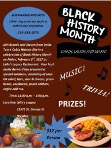 Black History Month Lunch & Learn @ Leila's Legacy | Dresden | Ontario | Canada