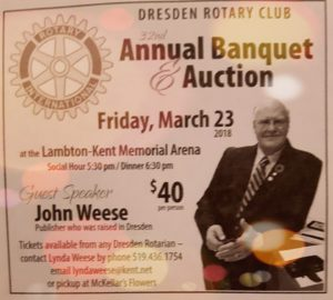 Annual Rotary Banquet & Auction @ Dresden Arena | Dresden | Ontario | Canada
