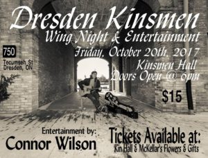 Wing Night with Connor Wilson @ Dresden Kinsmen Club | Dresden | Ontario | Canada