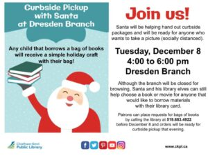 POSTPONED Curbside Pickup with Santa @ Dresden Library